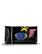 DSquared2 Pochette con Tracolla in Vernice Nera Patch Punk - dsquared2 - it.forzieri.com