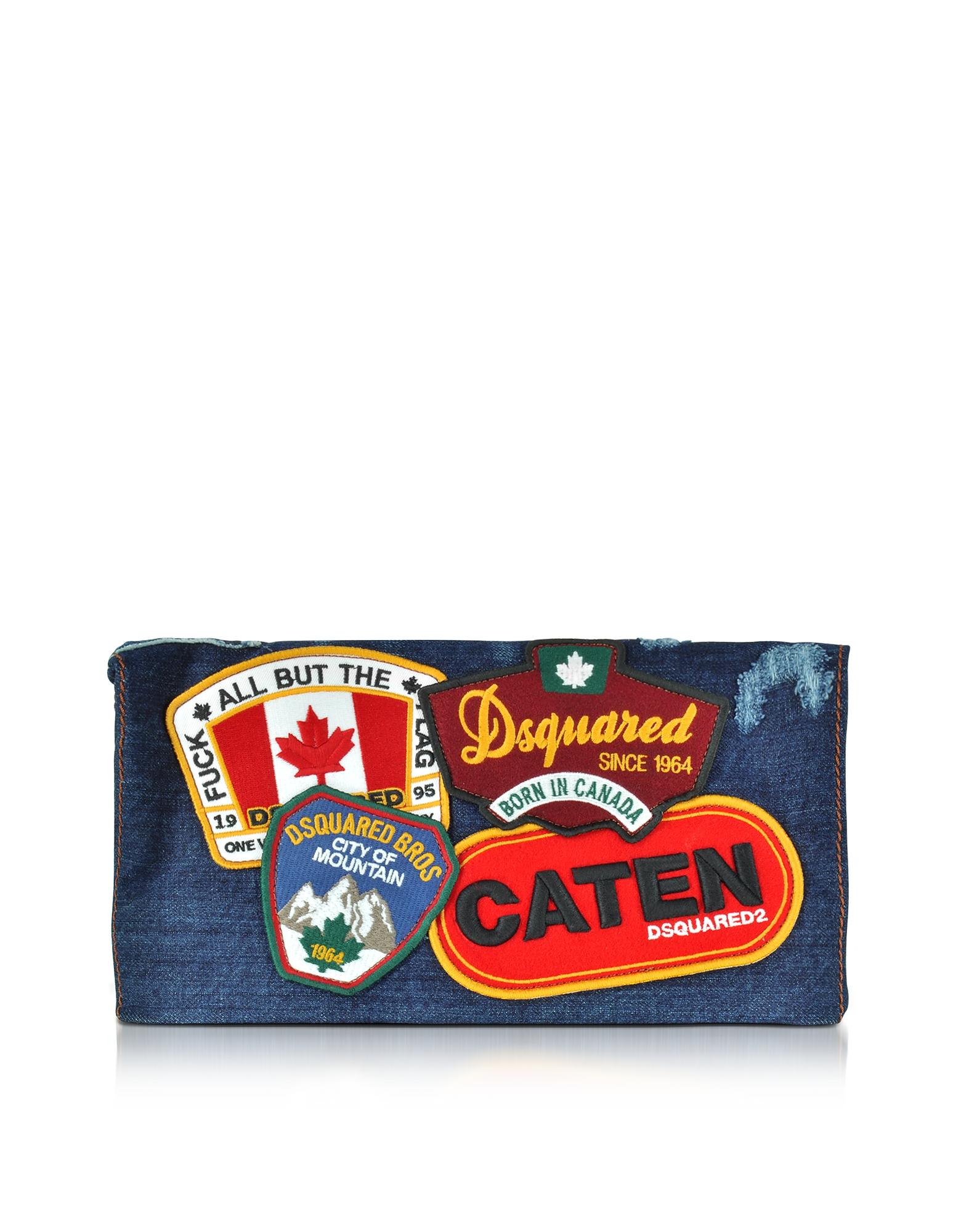 DSquared2 Handbags, Denim Destroyed Clutch w/Patches