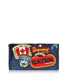 Denim Destroyed Clutch w/Patches - DSquared2