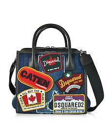 Denim Destroyed and Black Leather Tote Bag w/Patches - DSquared2