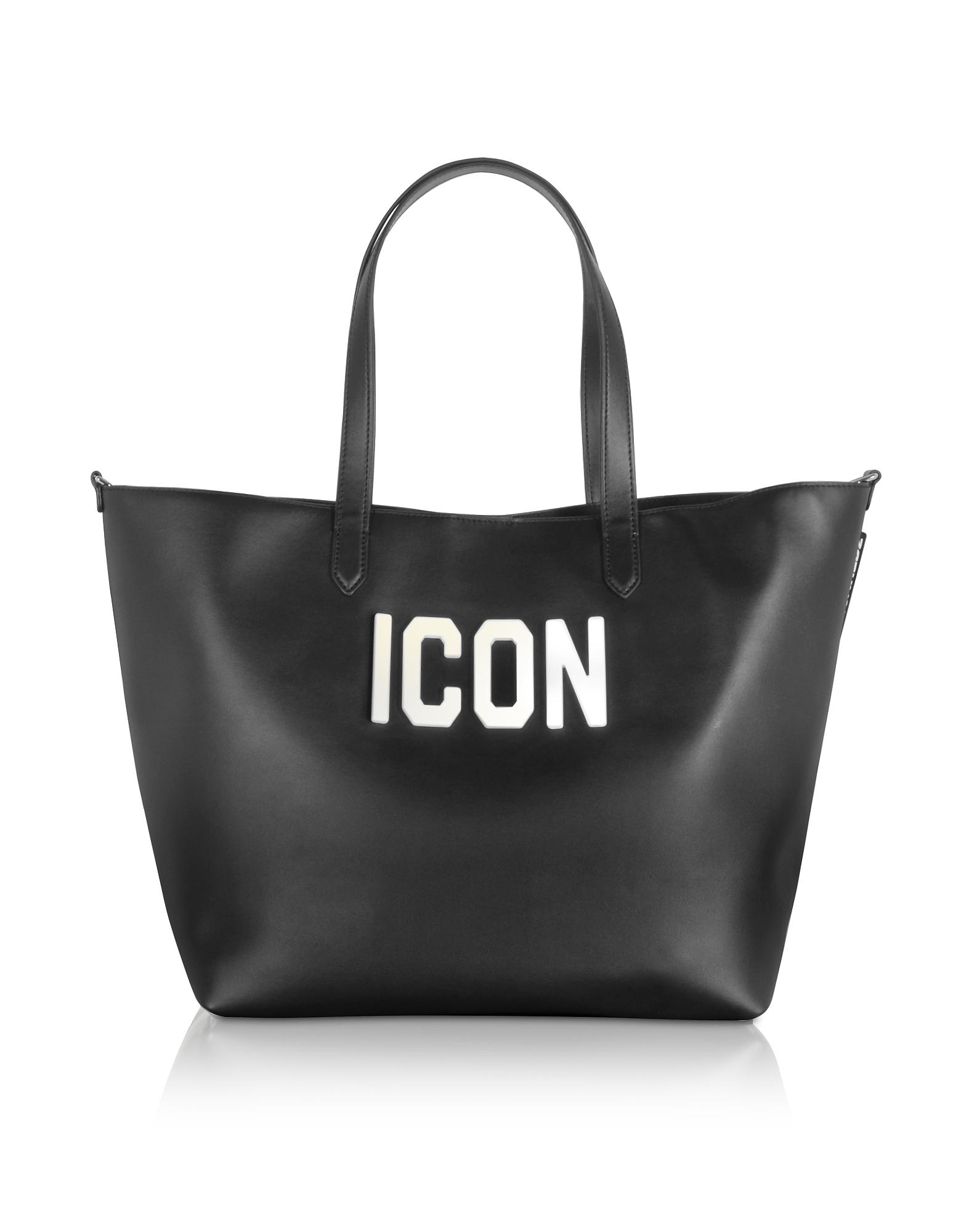 Black Leather and Plexy Icon Tote Bag