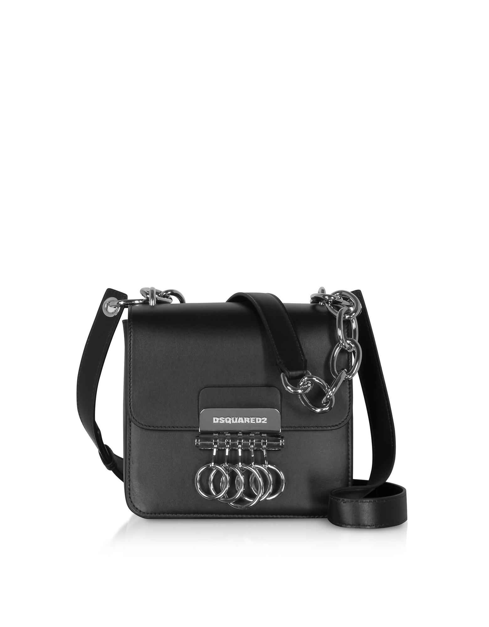 DSquared2 Designer Handbags, Black Leather Key Crossbody Bag