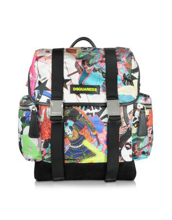 Multicolor Manga Printed Nylon & Leather Men's Backpack