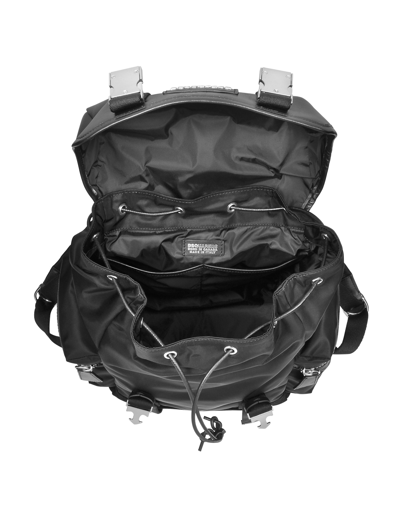 Black Nylon and Leather Backpack от Forzieri.com INT