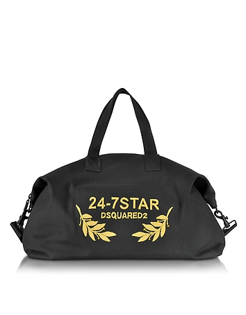 24-7 Star Icon Black Canvas Duffle Bag