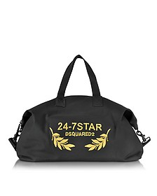 24-7 Star Icon Black Canvas Duffle Bag - DSquared2