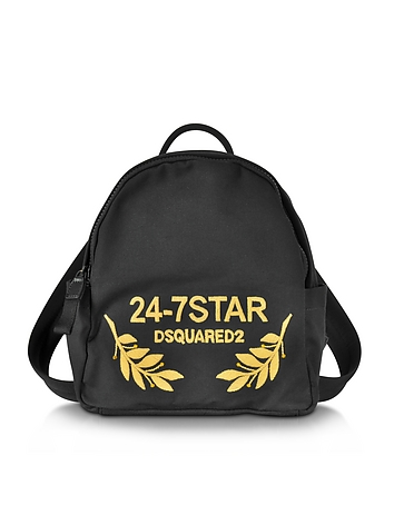 DSquared2 - 24-7 Star Icon Black Canvas Small Backpack