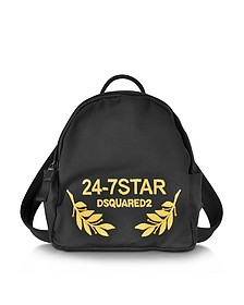 24-7 Star Icon Black Canvas Small Backpack - DSquared2