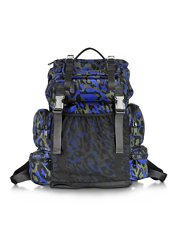 DSquared2 - Glam Leo Printed Black Green and Blue Nylon Backpack