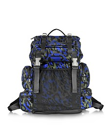 Glam Leo Printed Black, Green and Blue Nylon Backpack - DSquared2