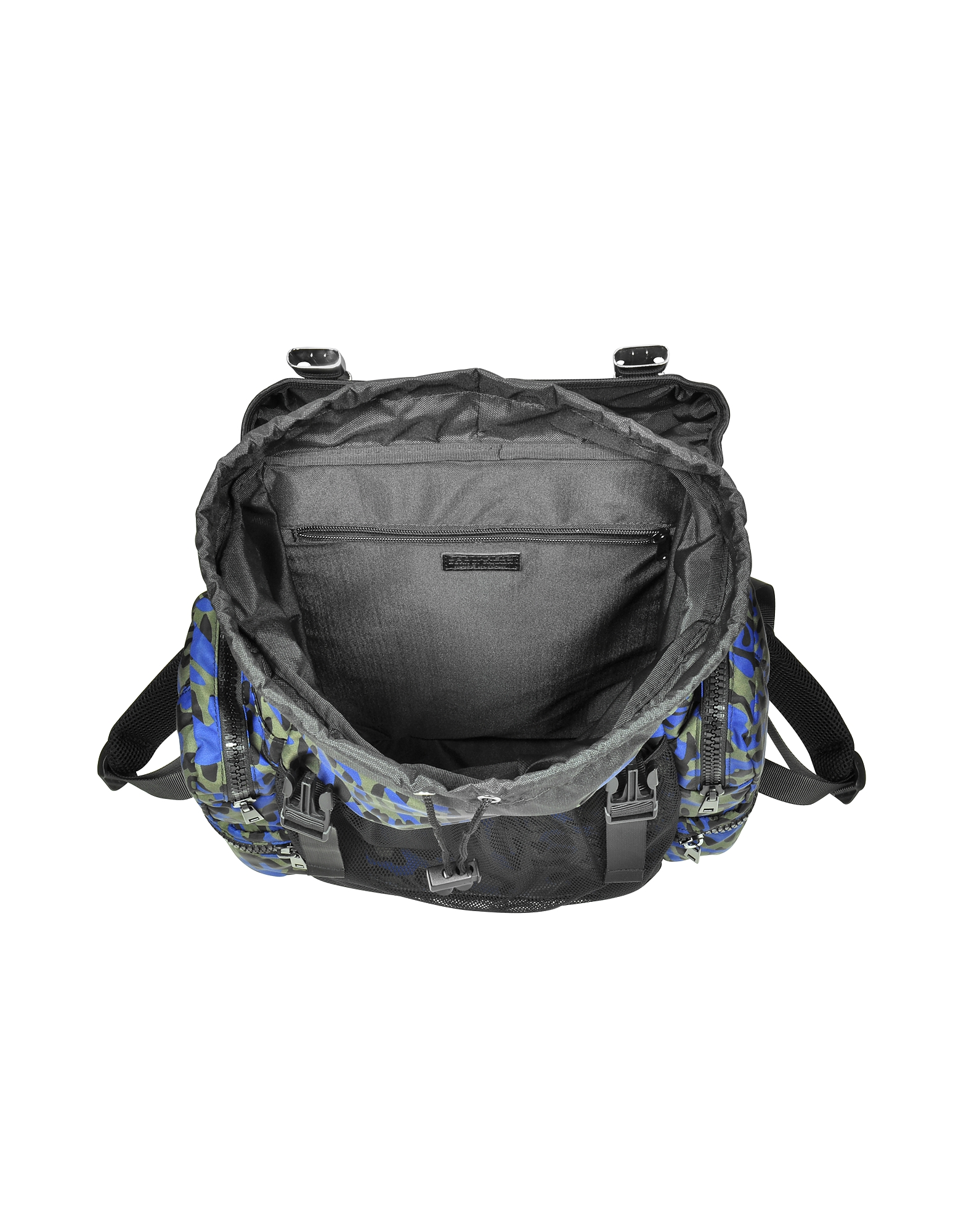 Glam Leo Printed Black, Green and Blue Nylon Backpack от Forzieri.com INT