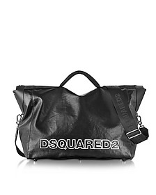 Oversized Black Leather Duffle Bag - DSquared2