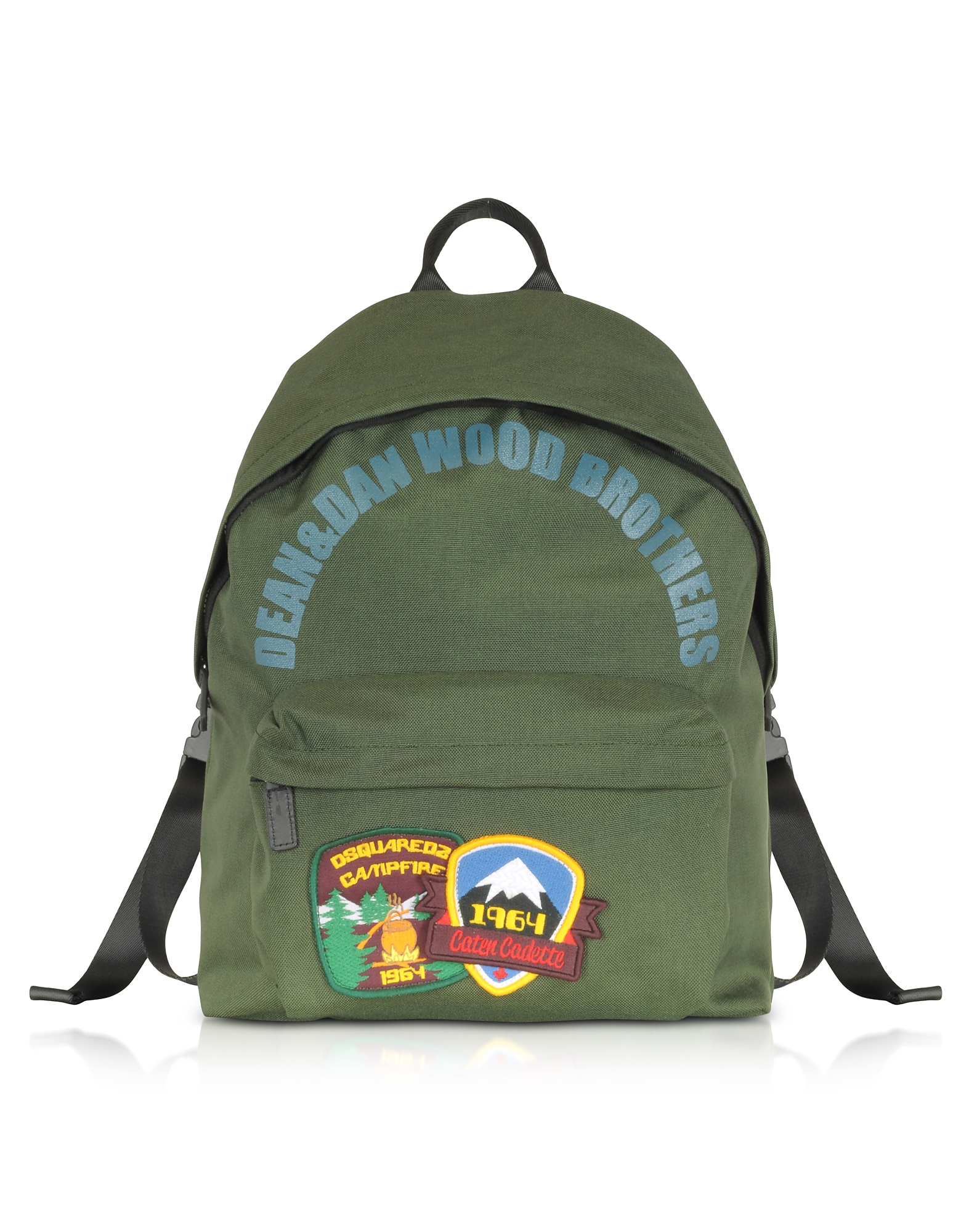 DSquared2 Backpacks, Military Green Nylon Medium Backpack w/Patches