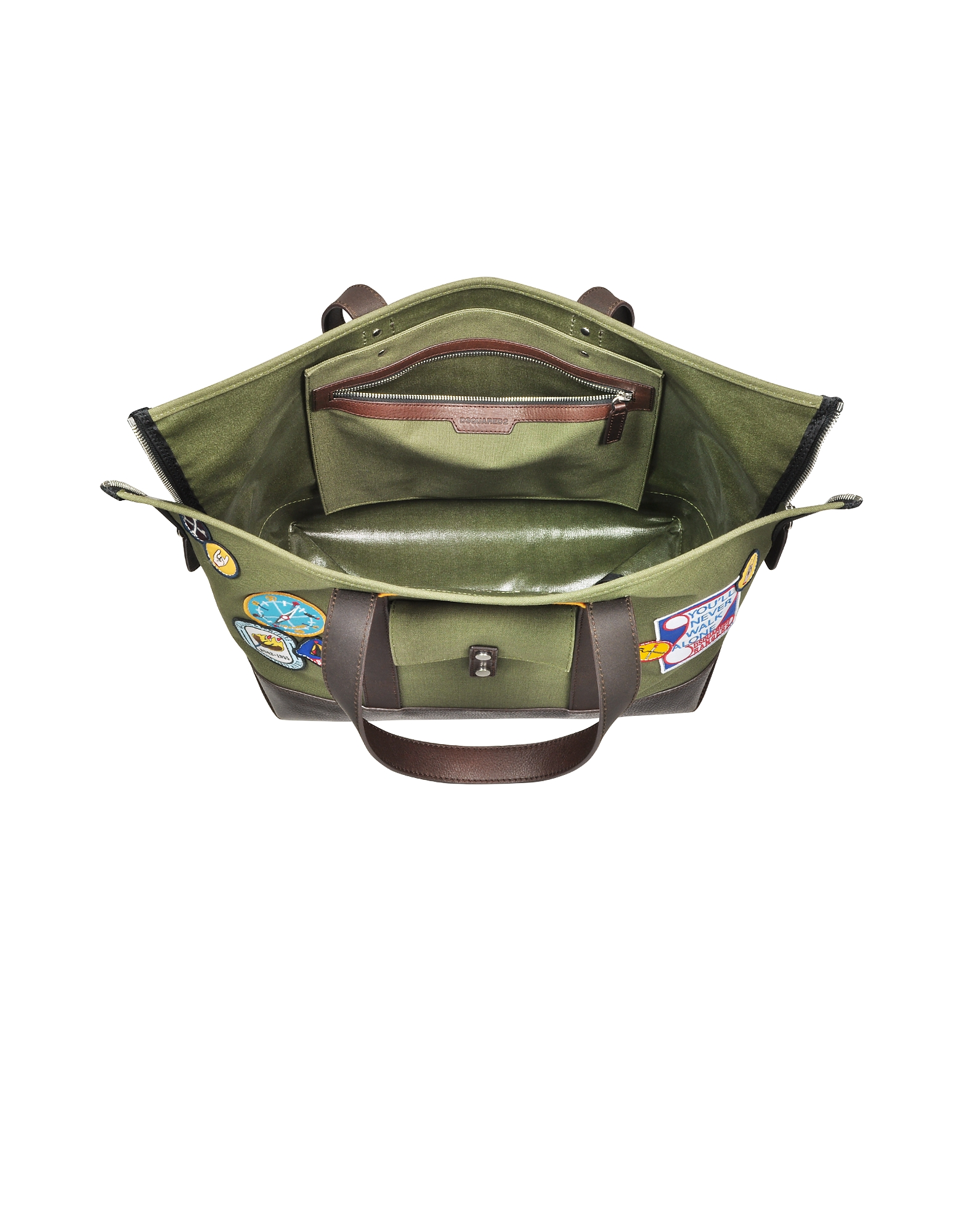 Military Green Canvas Tote w/Patches от Forzieri.com INT