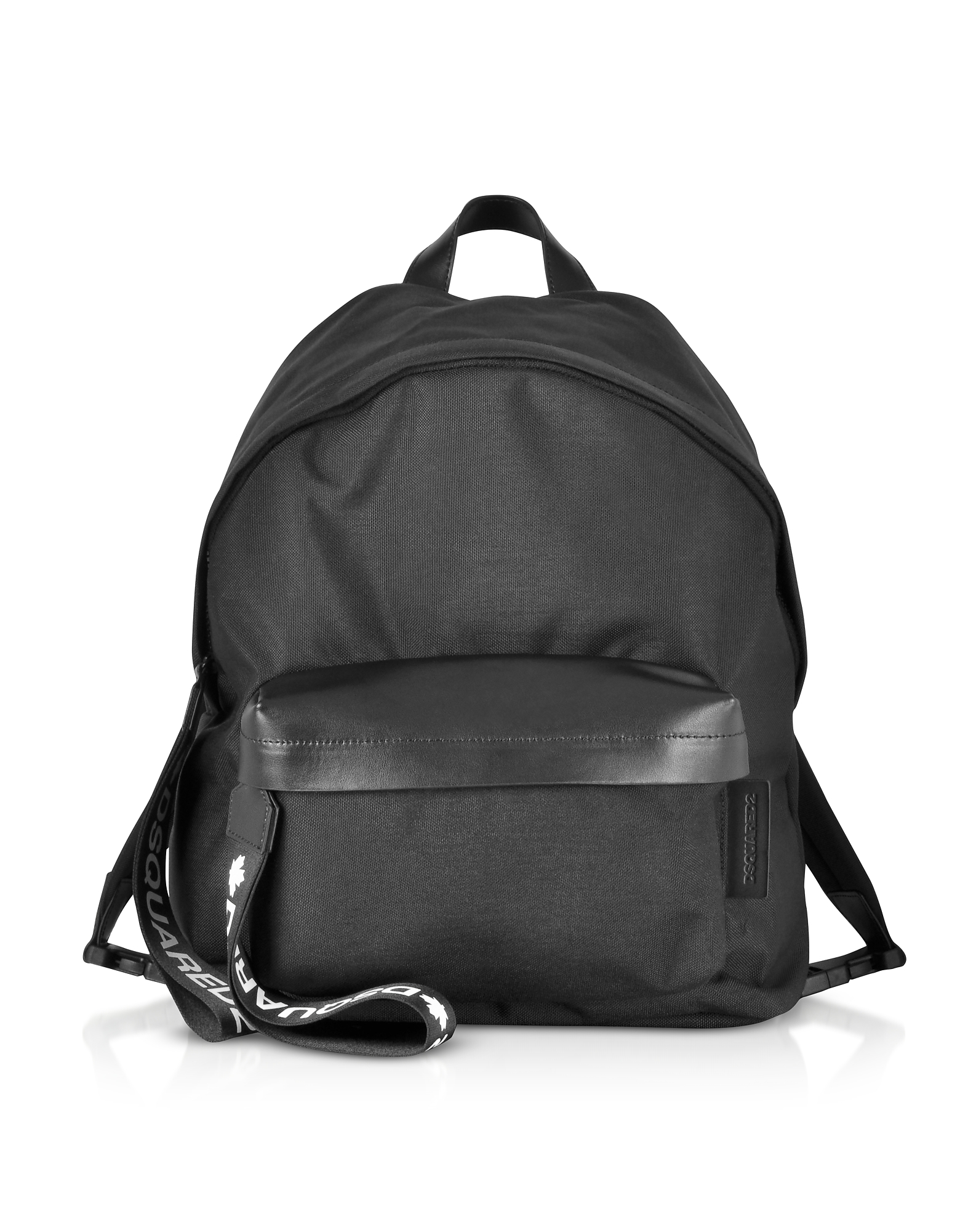 Black Nylon and Leather Signature Backpack