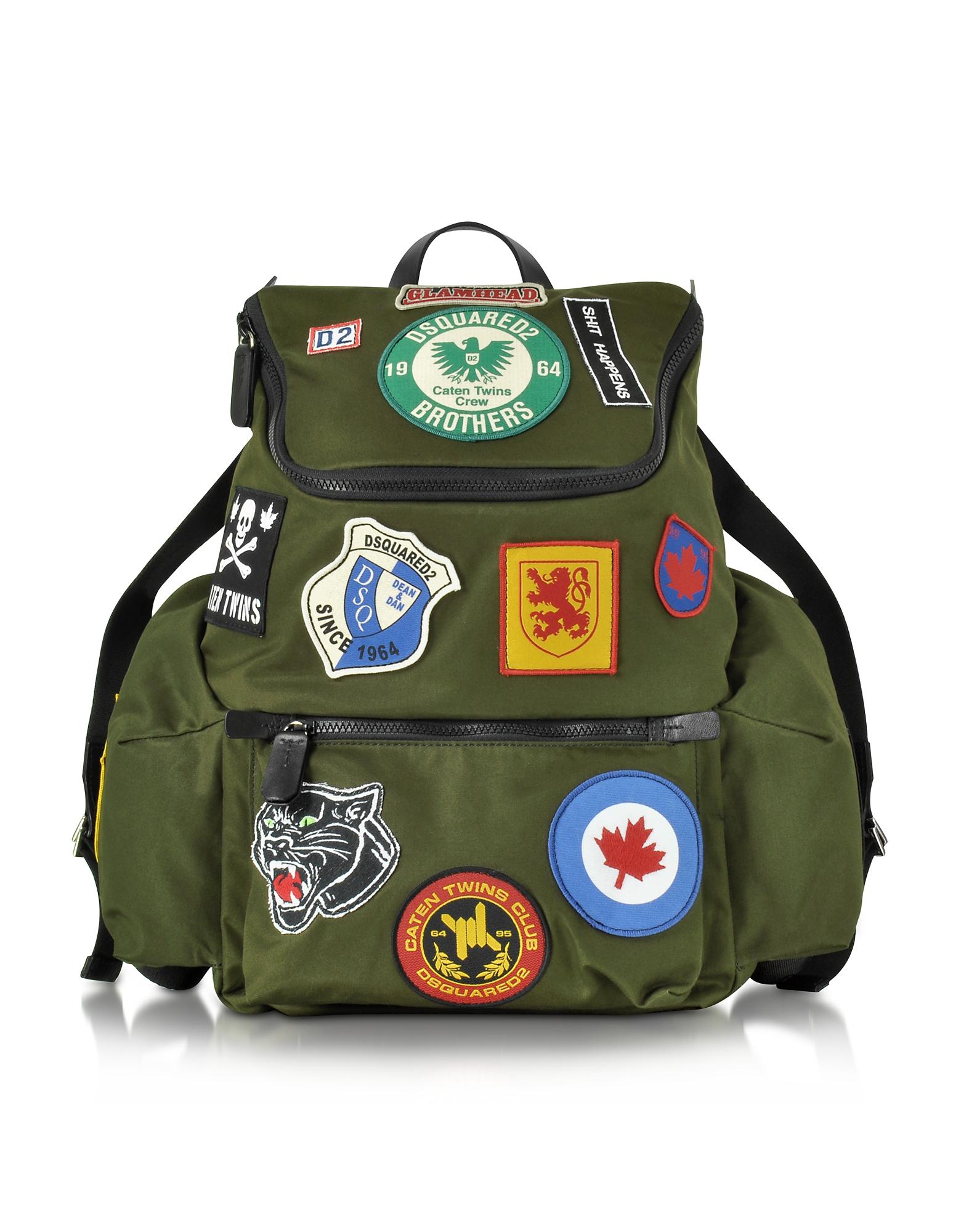 Hiro - Военно-Зеленый Мужской Рюкзак с Печворк