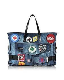 Blue Washed Denim Oversized Tote w/Patches - DSquared2