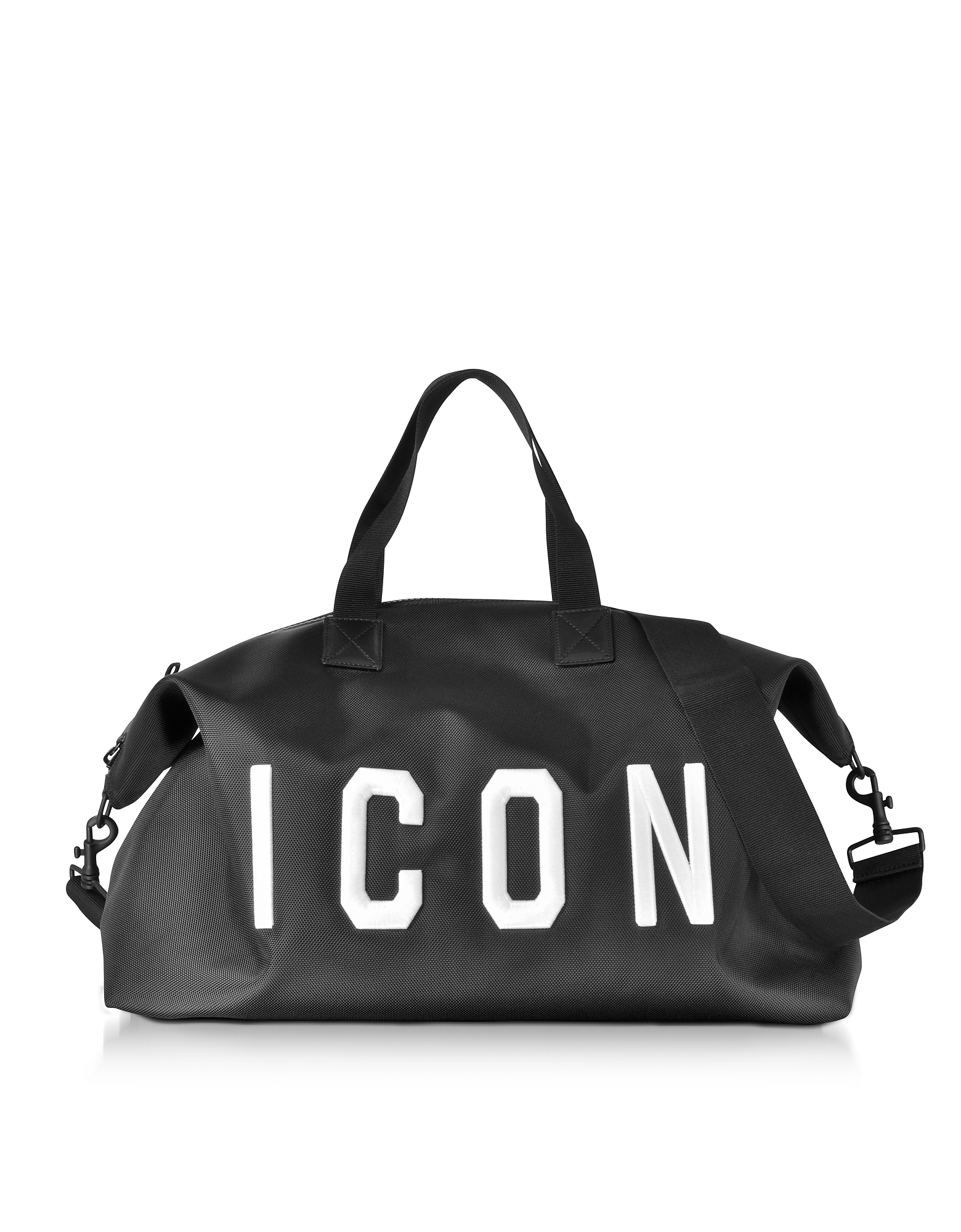 DSquared2 Travel Bags, Icon Black Techno Fabric Men's Duffle Bag