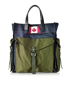 Military Chic Fabric and Denim Men's Tote Bag - DSquared2