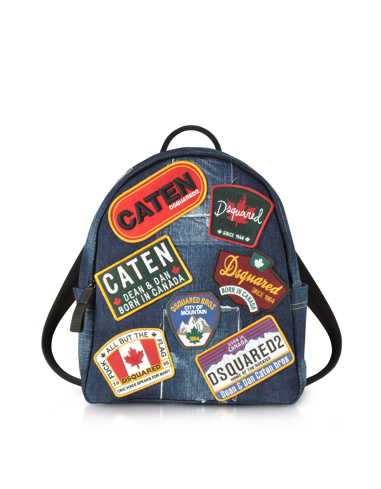 DSquared2 Backpacks, Denim Destroyed Men's Backpack w/Patches