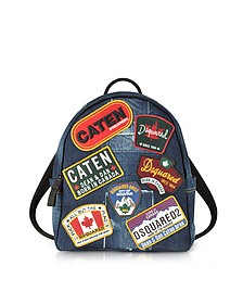Denim Destroyed Men's Backpack w/Patches - DSquared