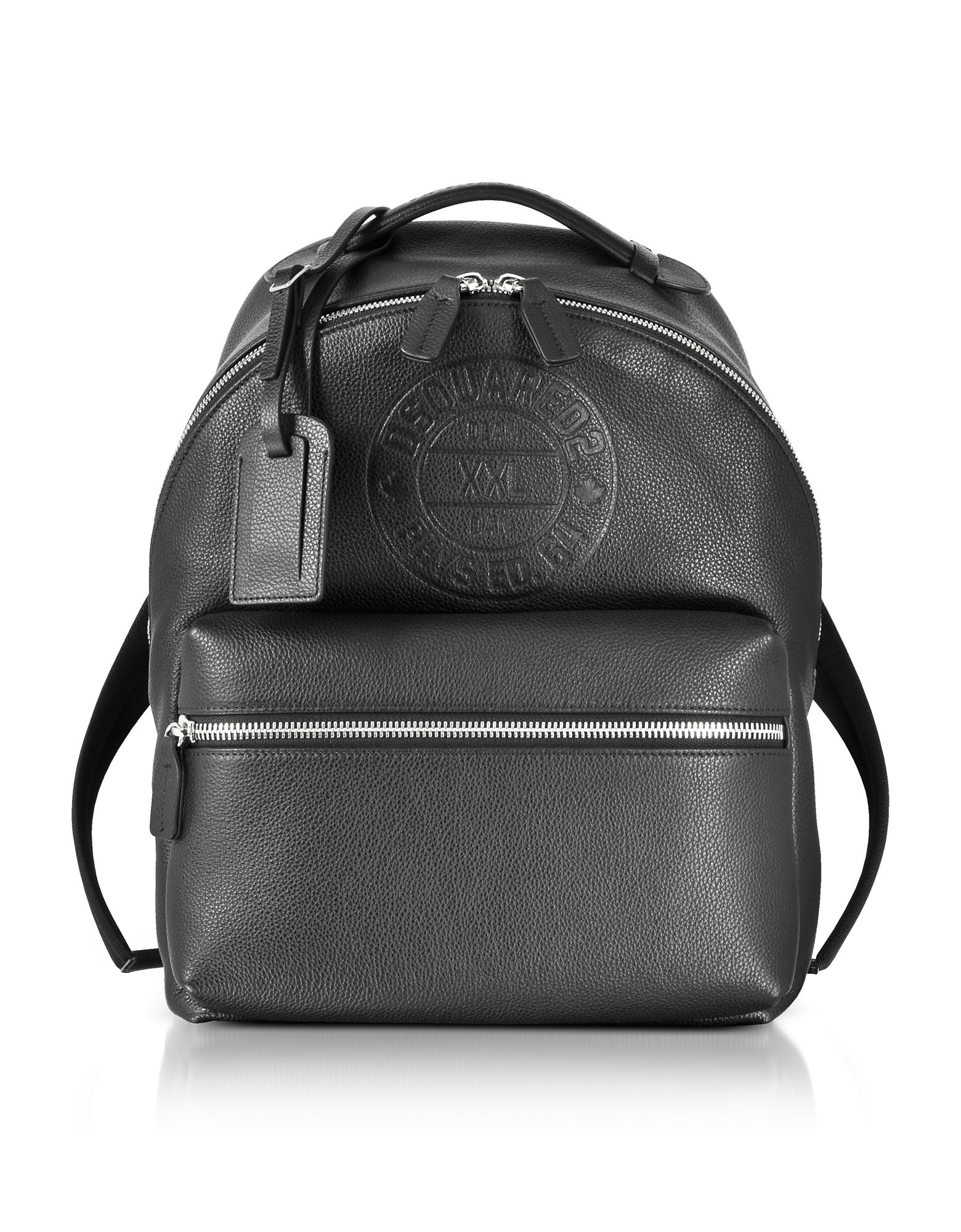 Black Leather Men's Backpack