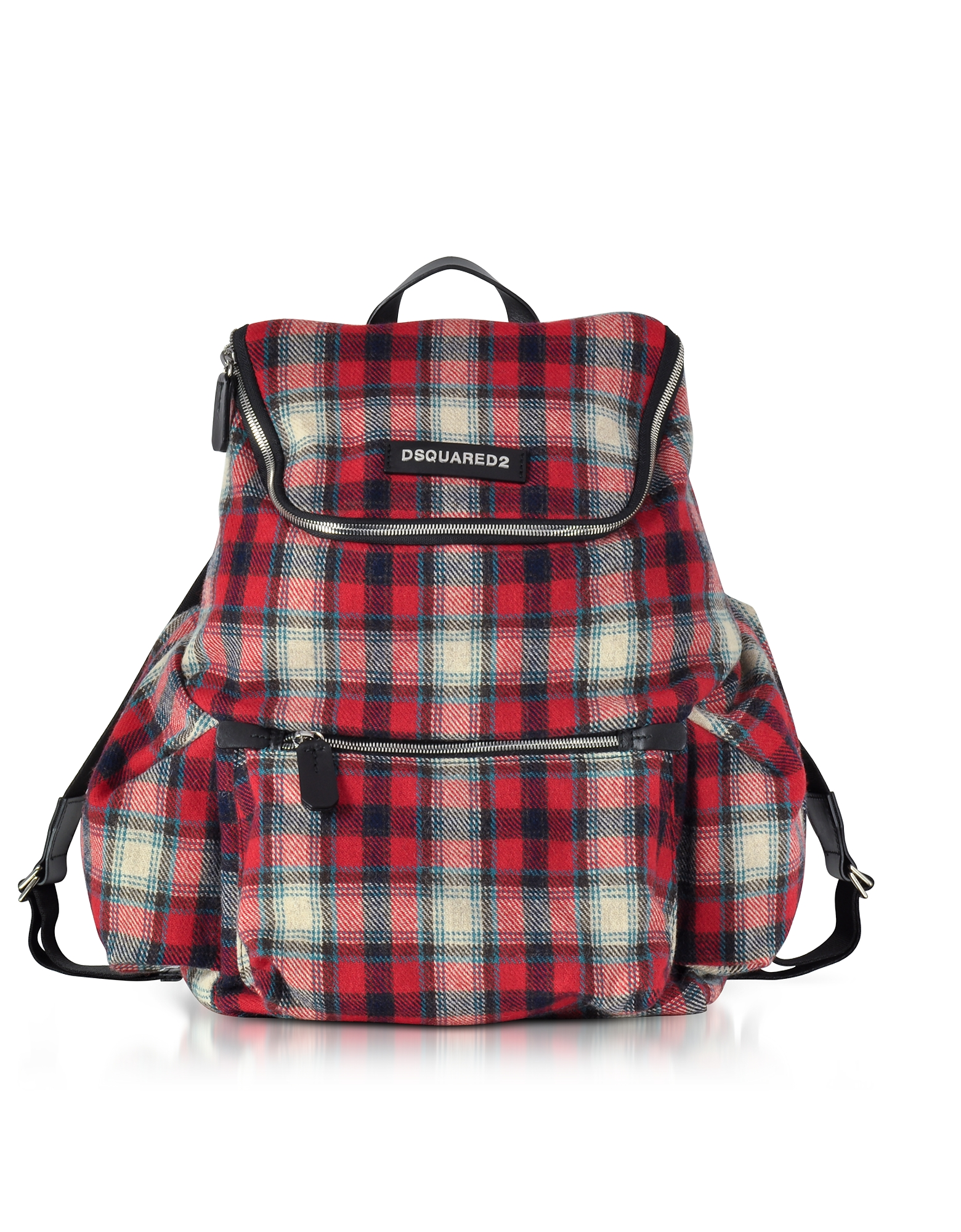 DSquared2 Backpacks, Red Checked Wool Blend Men's Backpack