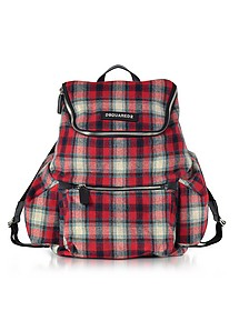 Red Checked Wool Blend Men's Backpack - DSquared2