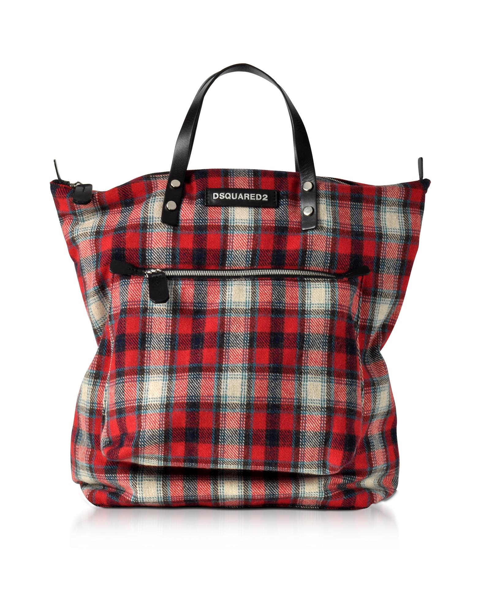 DSquared2 Men's Bags, Red Wool Blend Check Hiro Men's Tote Bag