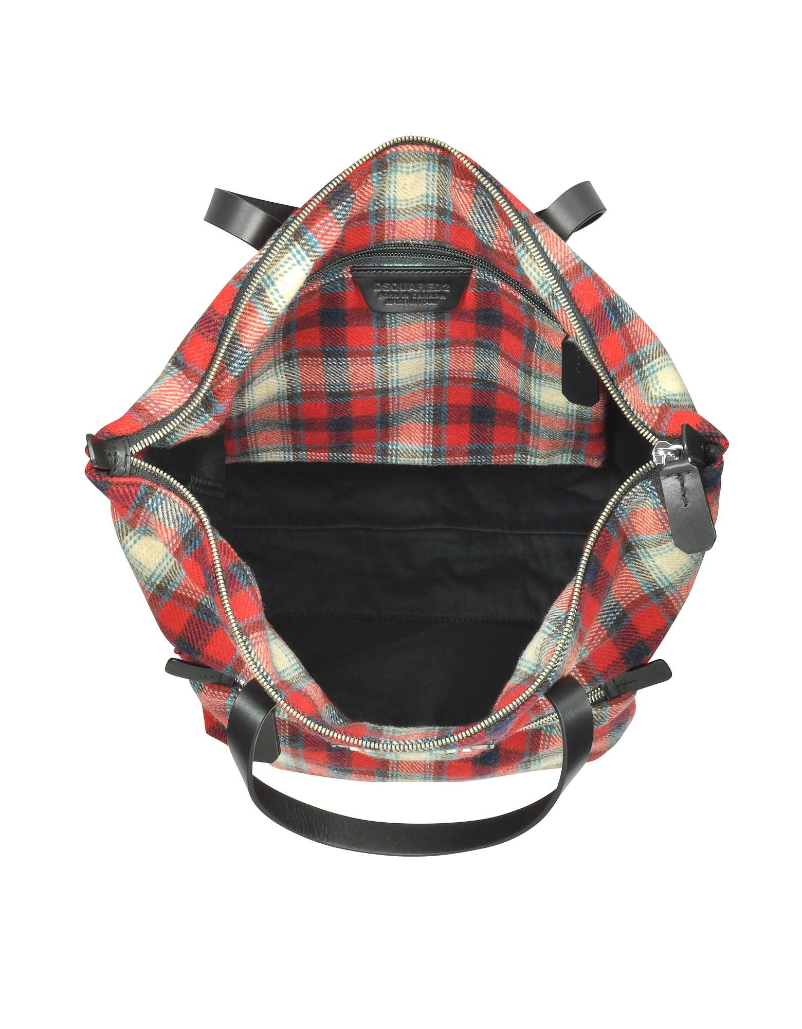 Red Checked Wool Blend Men's Tote Bag от Forzieri.com INT