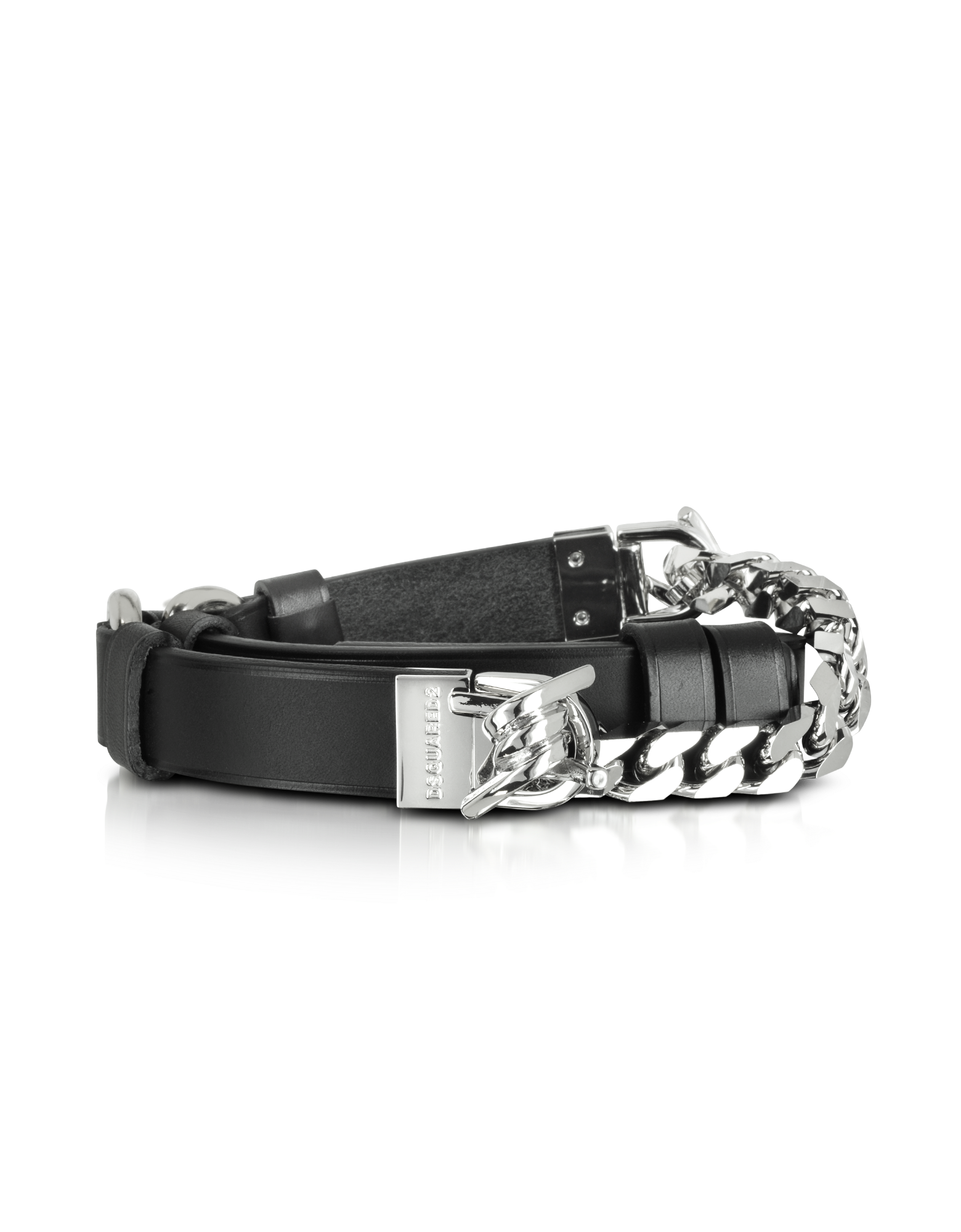 Image of Babe Wire Black Leather and Silver Tone Metal Women's Belt