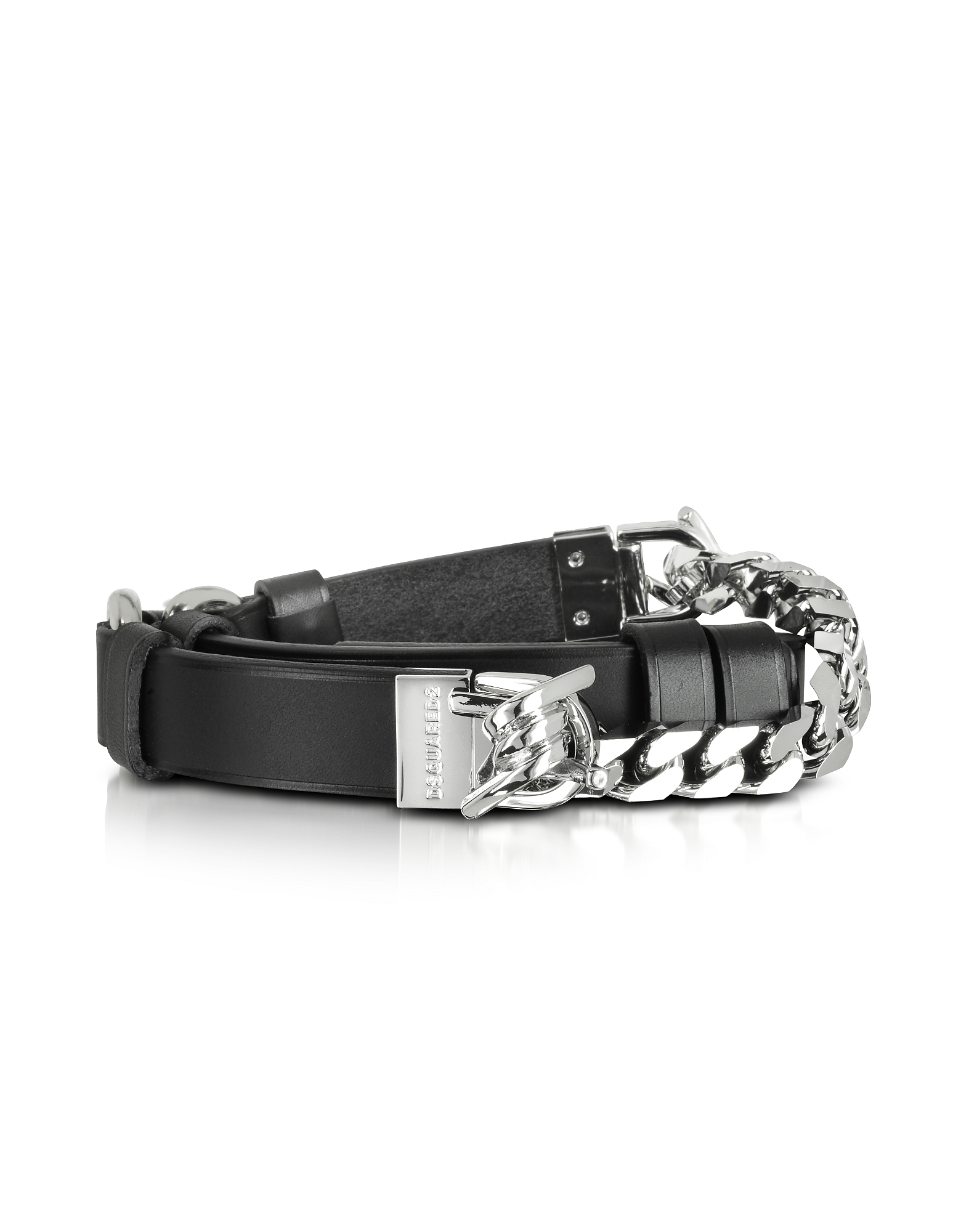 Babe Wire Black Leather and Silver Tone Metal Women's Belt