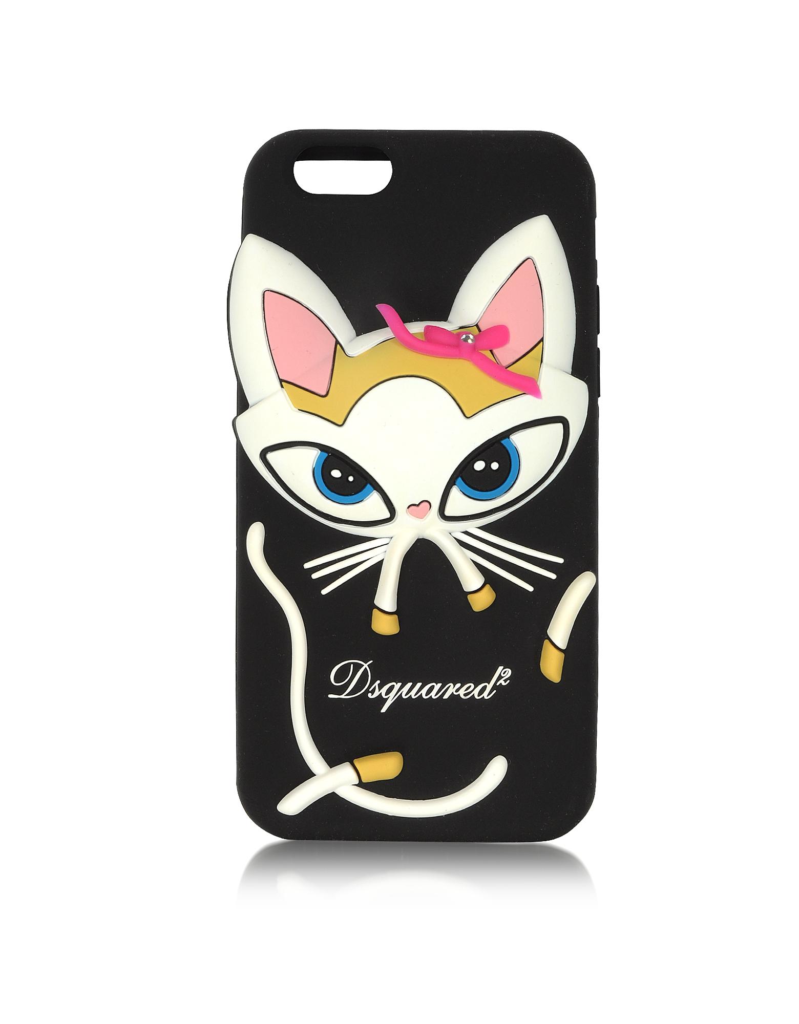 Черный Силиконовый Футляр для iPhone 6 с Кошкой