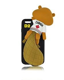 Housse de Protection pour iPhone 6 en Silicone Noir avec Castor Canadien - DSquared