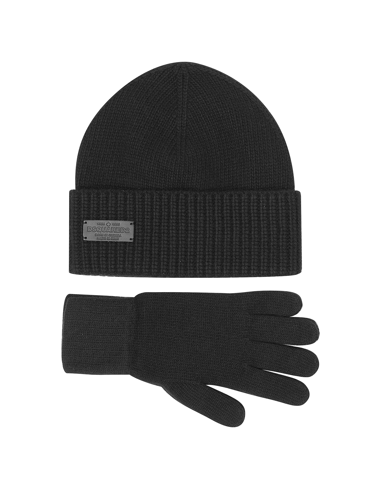 Black Wool and Cashmere Set of Gloves & Hat от Forzieri.com INT