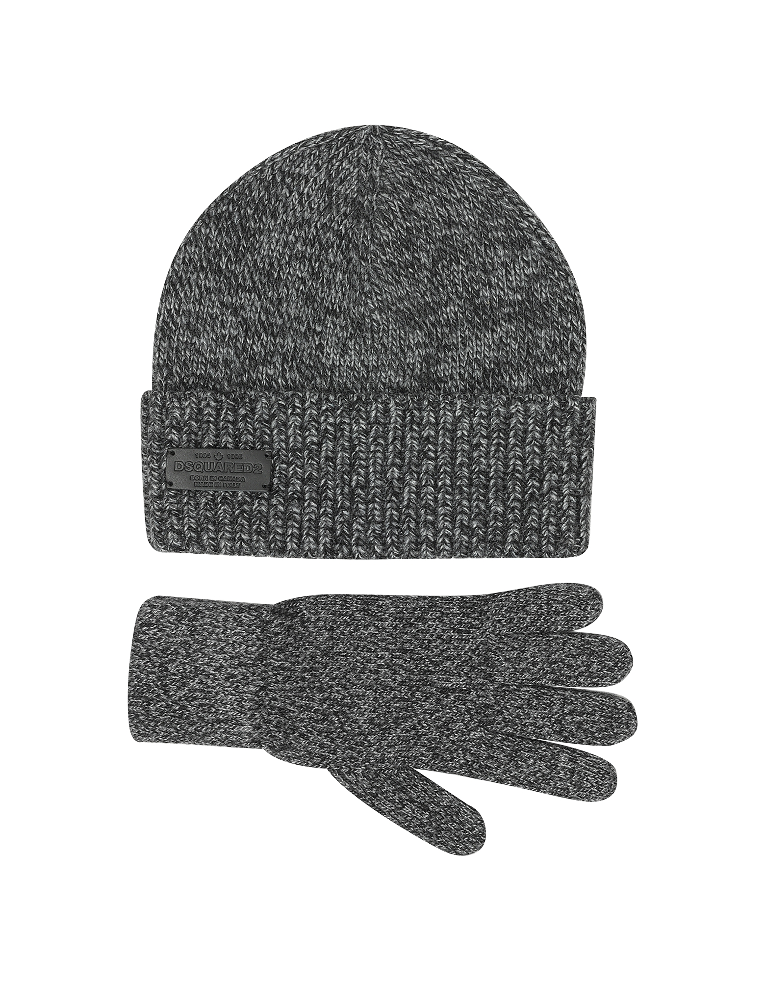 Dark Gray Wool and Cashmere Set of Gloves & Hat от Forzieri.com INT