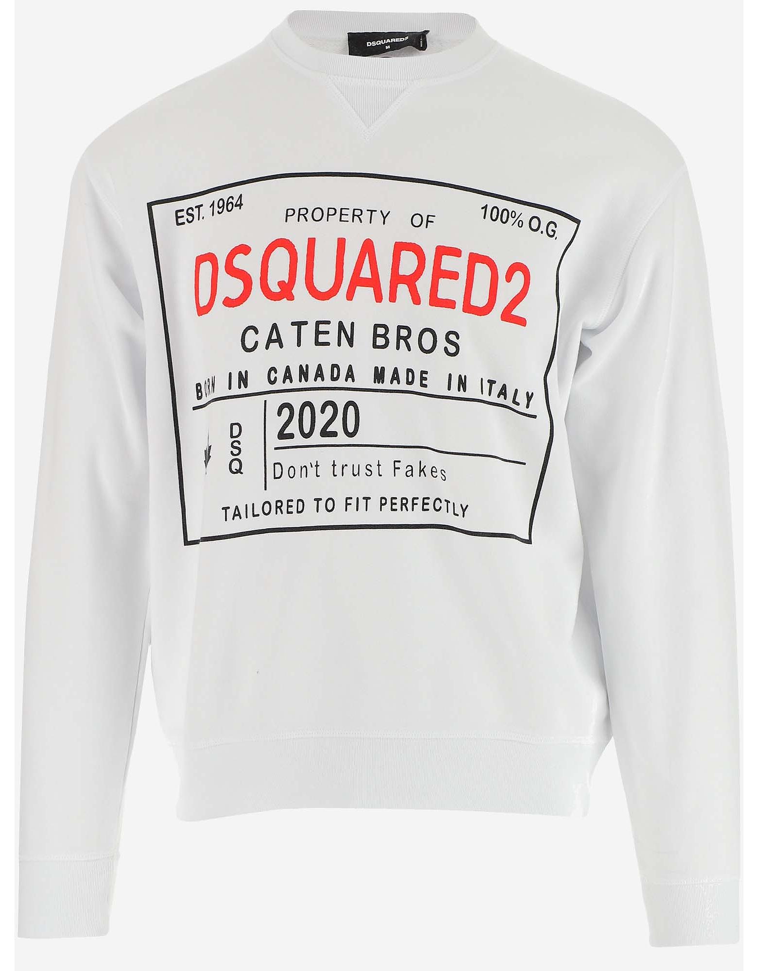 DSquared2 Designer Sweatshirts, White Cotton Signature Print Men's Sweatshirt