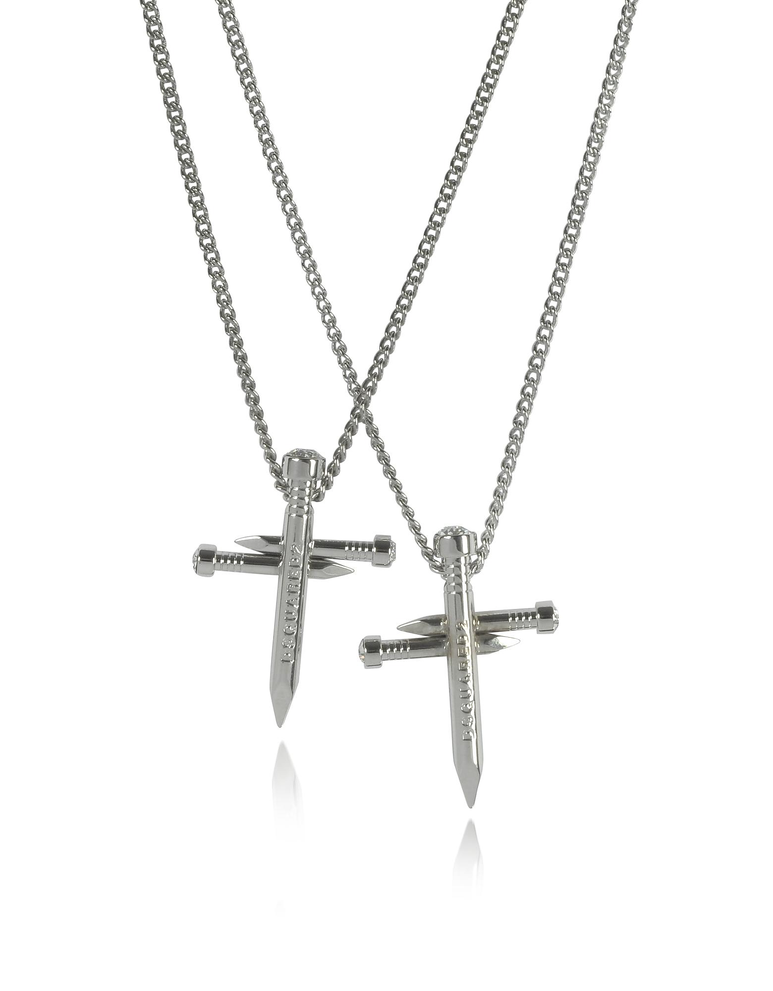 Ожерелье с Двумя Цепочками и Перекрещивающимися Гвоздями из Металла с Палладиевым Покрытием