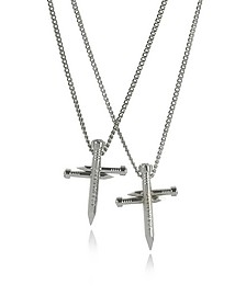Crossing Nail Palladium Plated Metal Double Chain Necklace w/Strass - DSquared