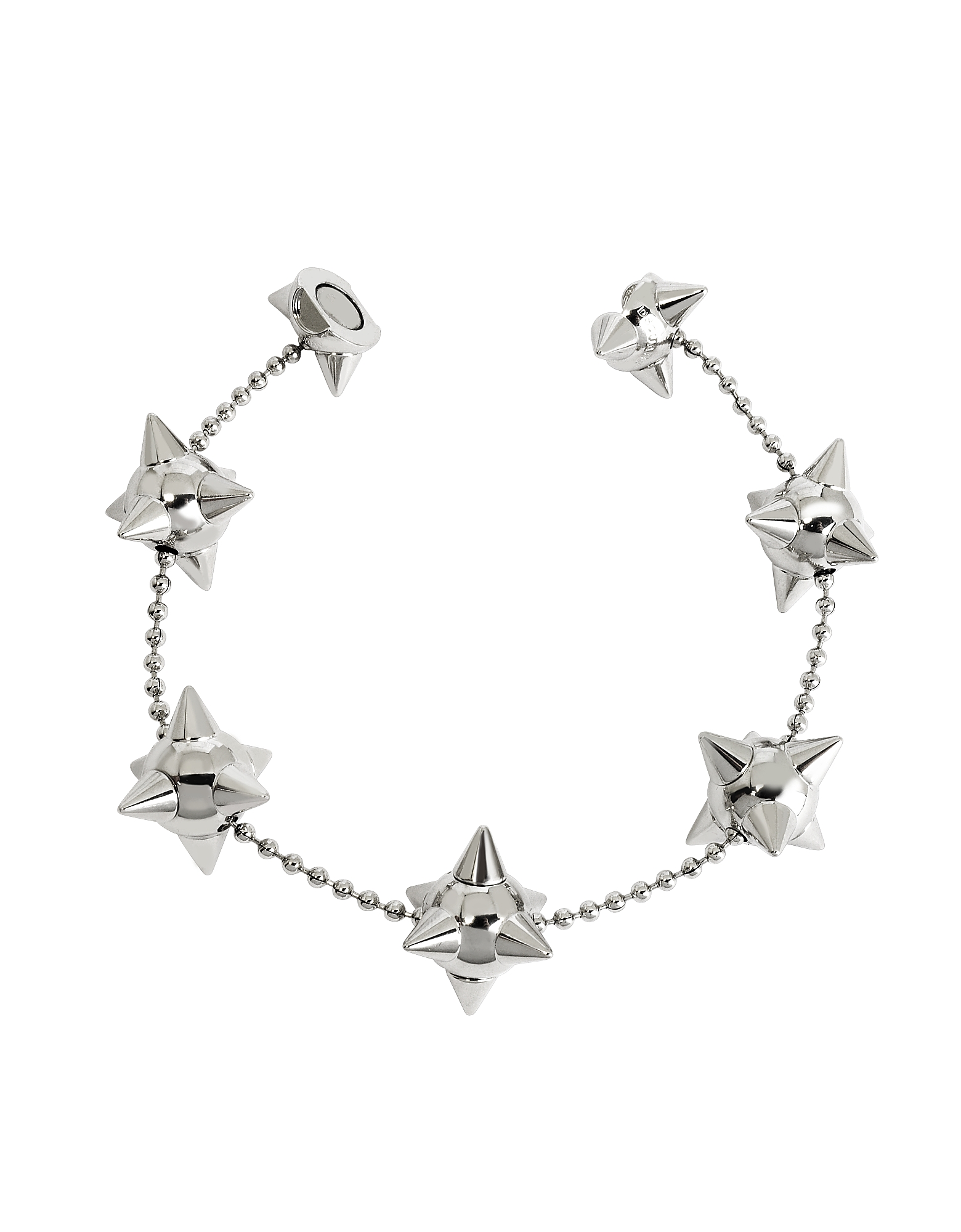 DSquared2 Designer Bracelets, Pierce Me Palladium Plated Metal Spiked Chain Armlet