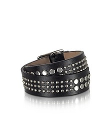Studded Black Leather Double Wrap Women's Armlet - DSquared2