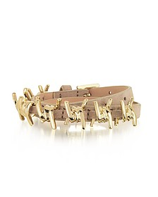 Babe Wire Nude Suede and Goldtone Armlet