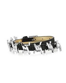 Babe Wire - Bracelet en Suède Noir et Métal Argent - DSquared
