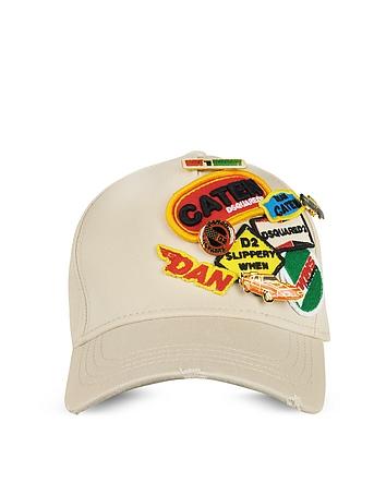 Beige Gabardine Cotton Embroidered Baseball Cap w/Pins