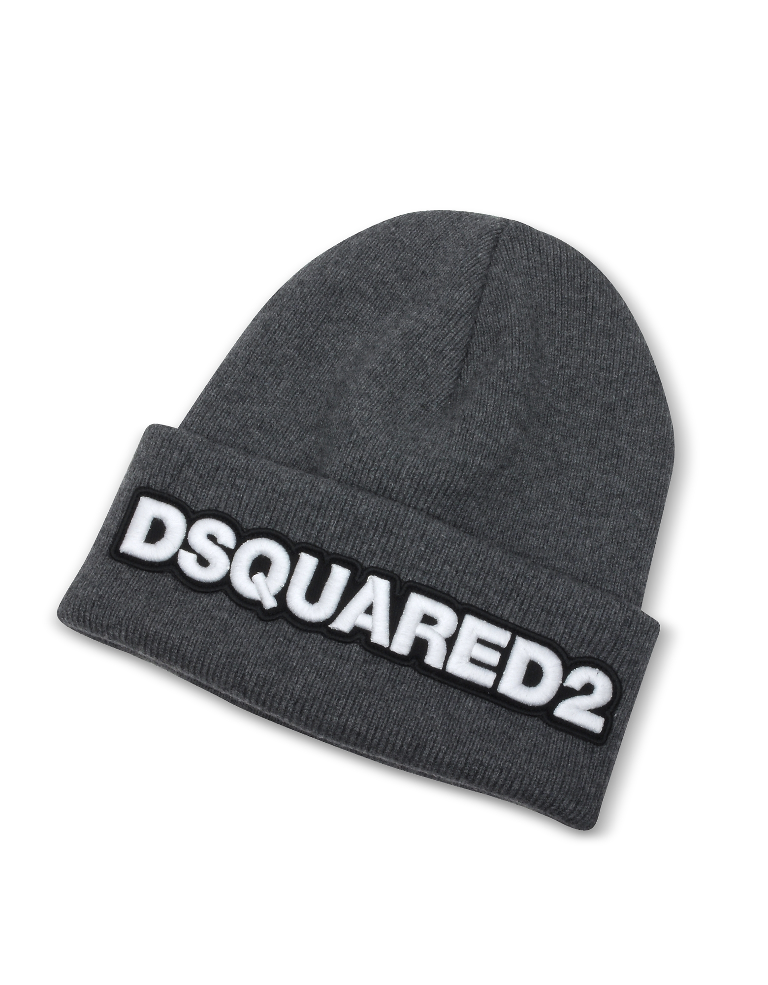 Embroidered Logo Anthracite Wool Beanie