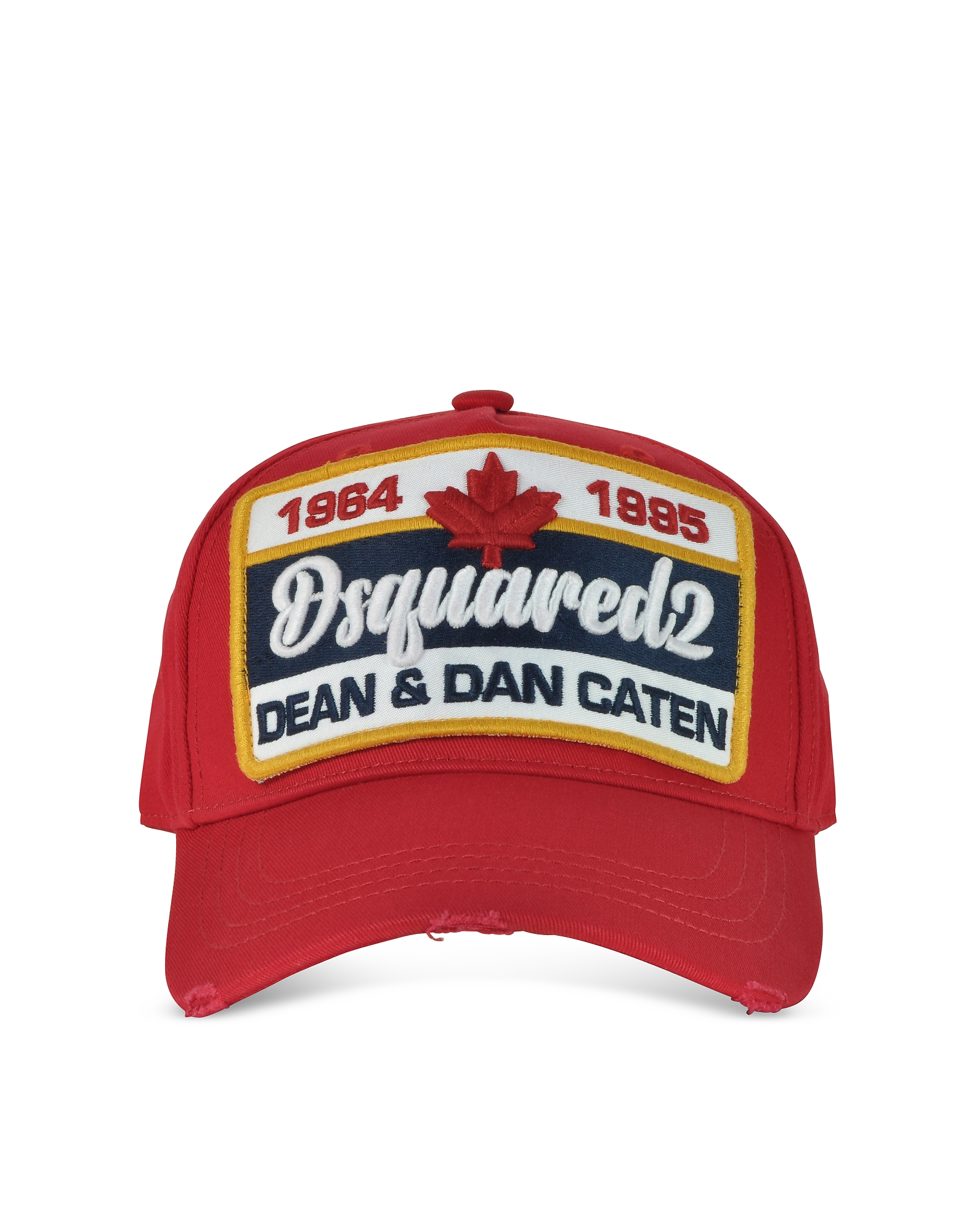 DSquared2 Men's Hats, Leaf Patch Logo Red Gabardine Baseball Cap
