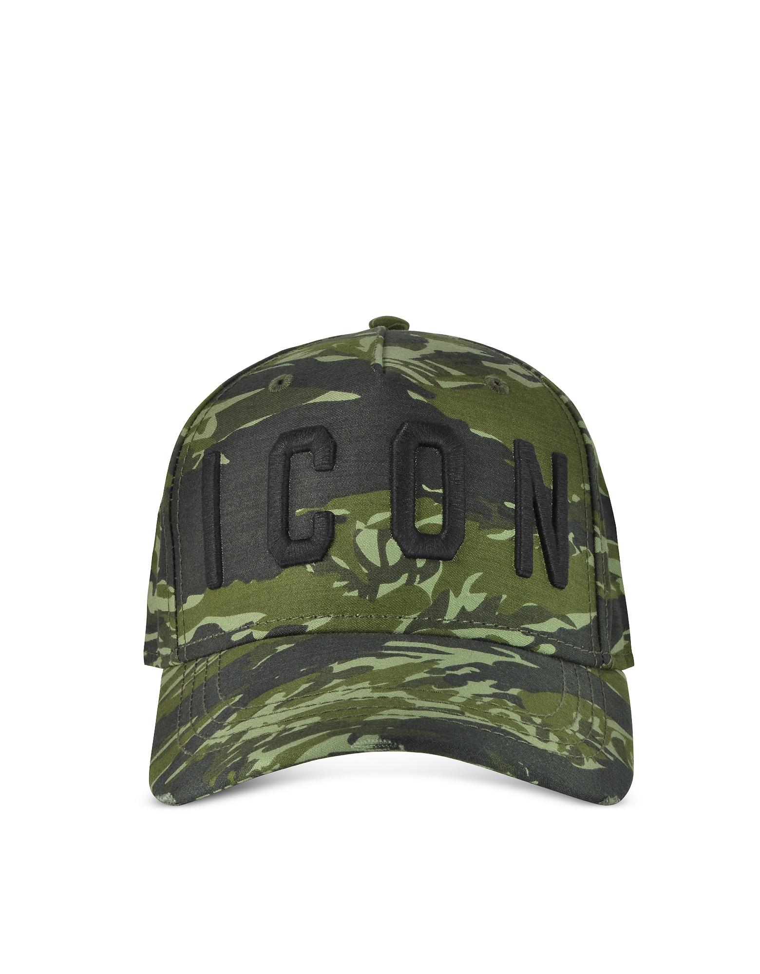 DSquared2 Men's Hats, Embroidered Icon Logo Camouflage Gabardine Baseball Cap