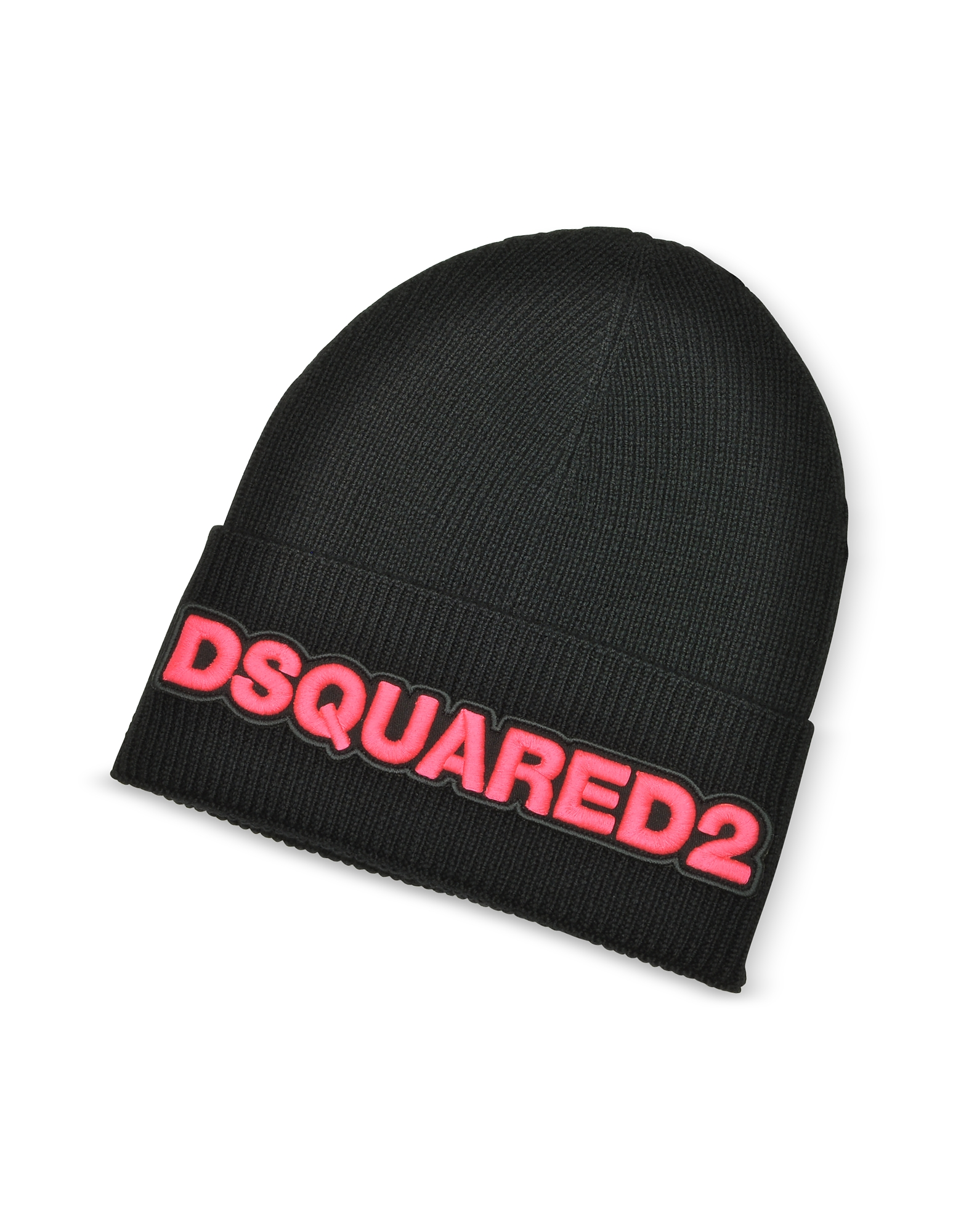 Embroidered Logo Black and Neon Pink Wool Beanie