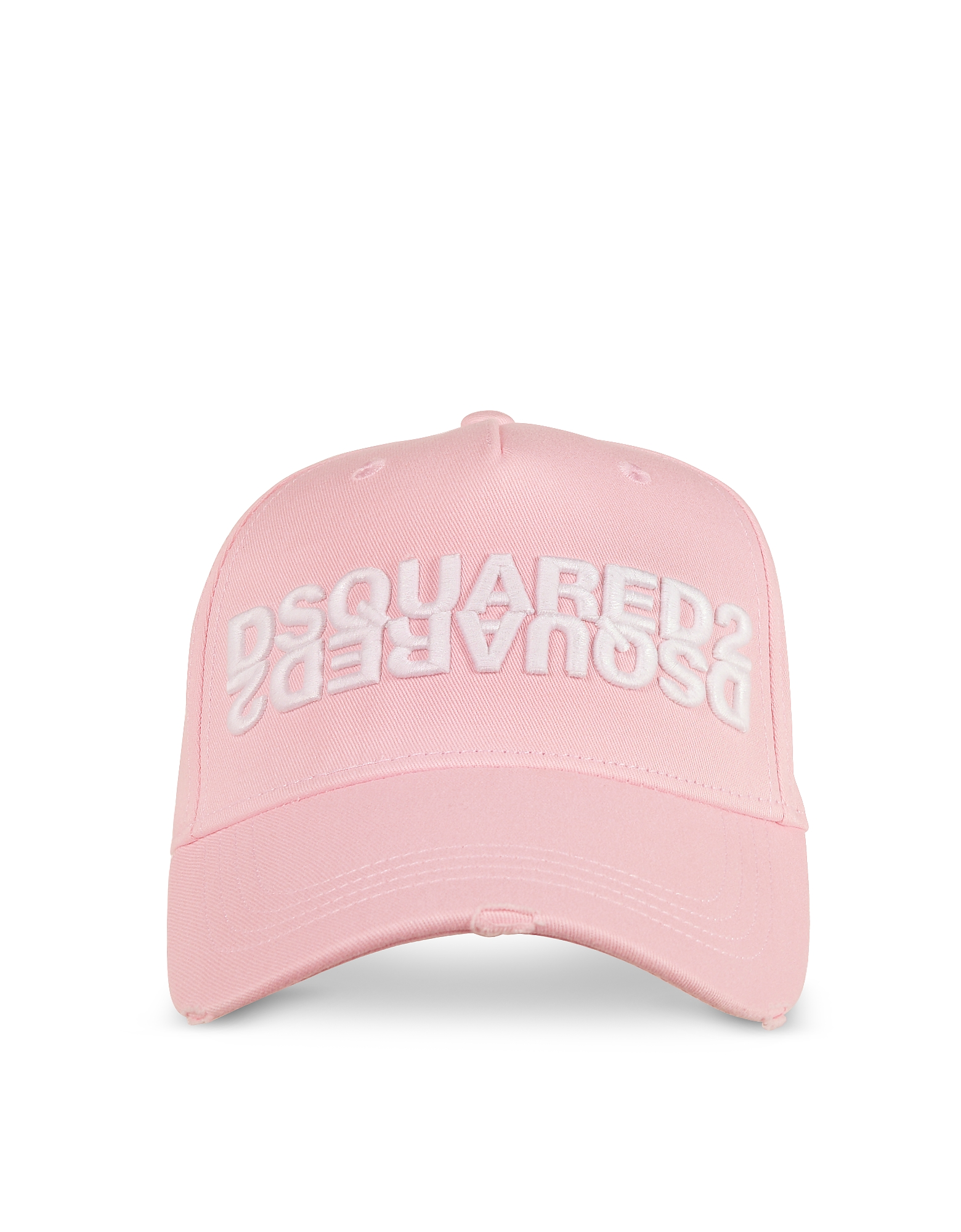 DSquared2 Designer Women's Hats, Pink Gabardine Cotton Mirror Logo Baseball Cap