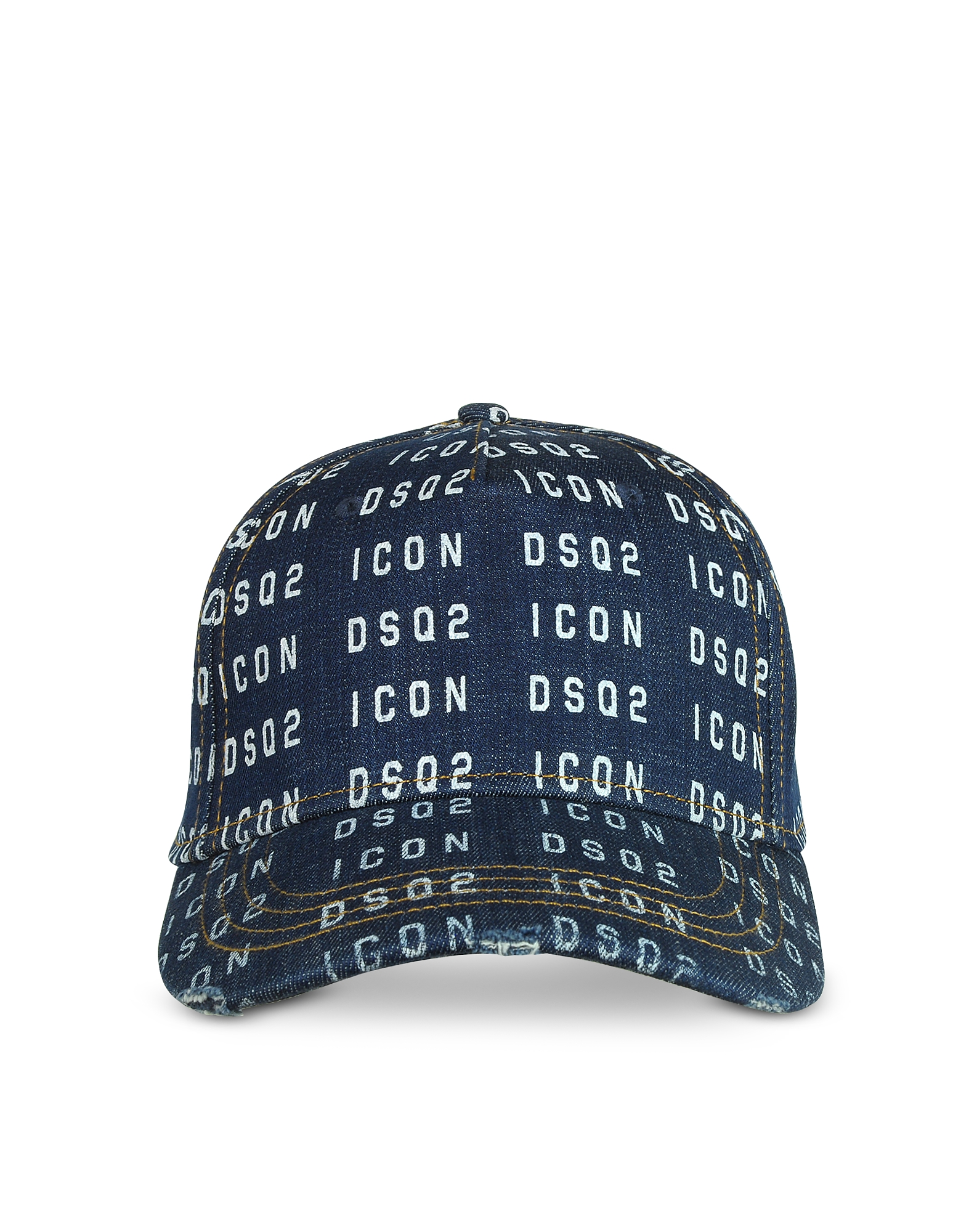 DSquared2 Designer Men's Hats, Men's Icon DSQ2 Printed Denim Baseball Cap